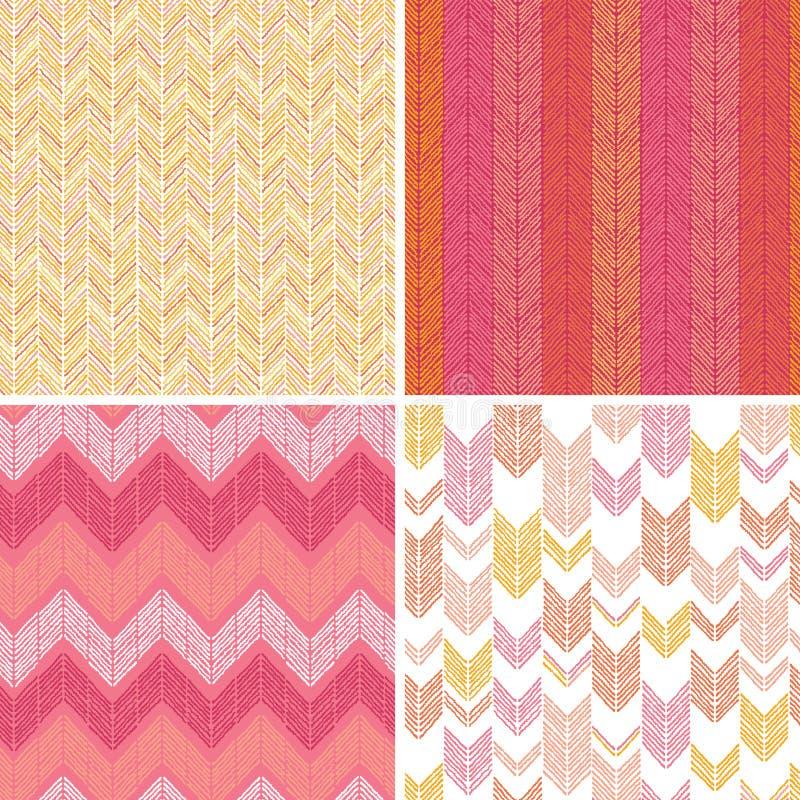 Set of four textile argyle seamless patterns vector illustration
