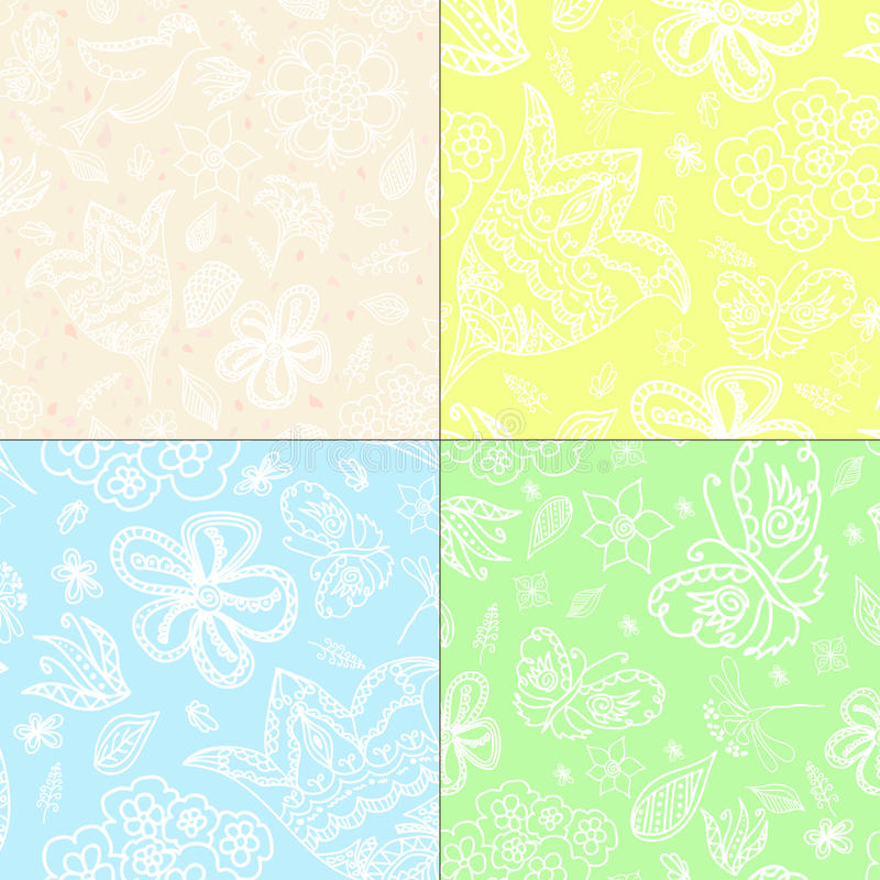 Set of four textured. Hand draw pattern backgrounds vector illustration