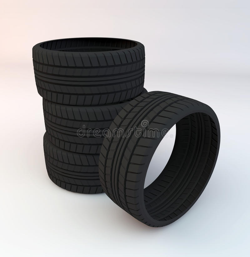 Set of Four Tires. A set of four tires royalty free illustration