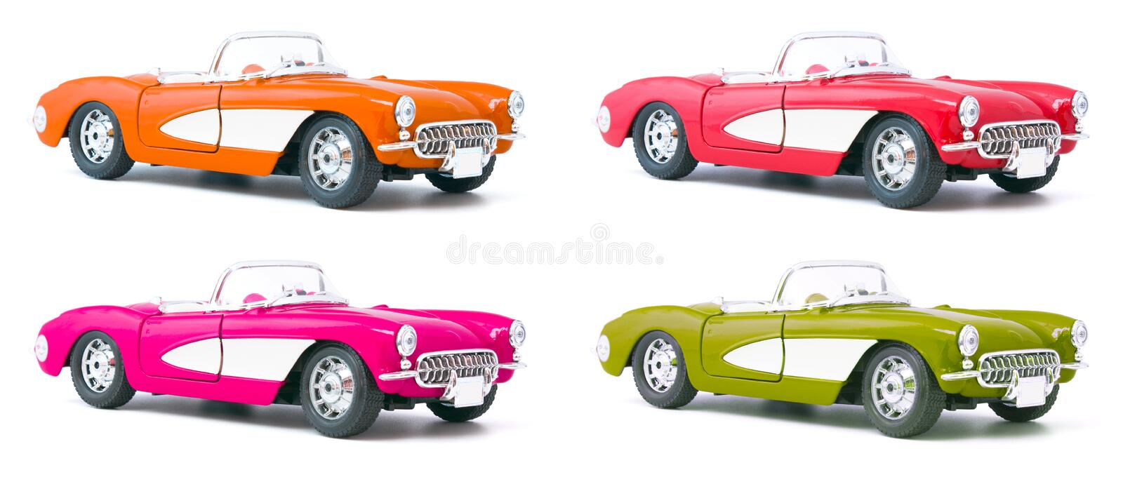 Set of four toy model cars royalty free stock photo