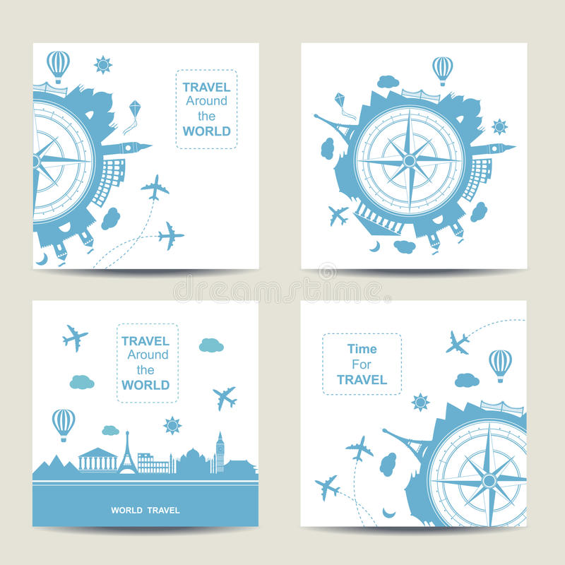 Set of four travel card templates. Square cards vector illustration