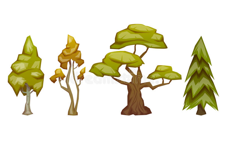 Set of four trees pine, birch, oak, aspen. Vector illustration. Set of four trees pine, birch, oak and aspen. Vector illustration vector illustration