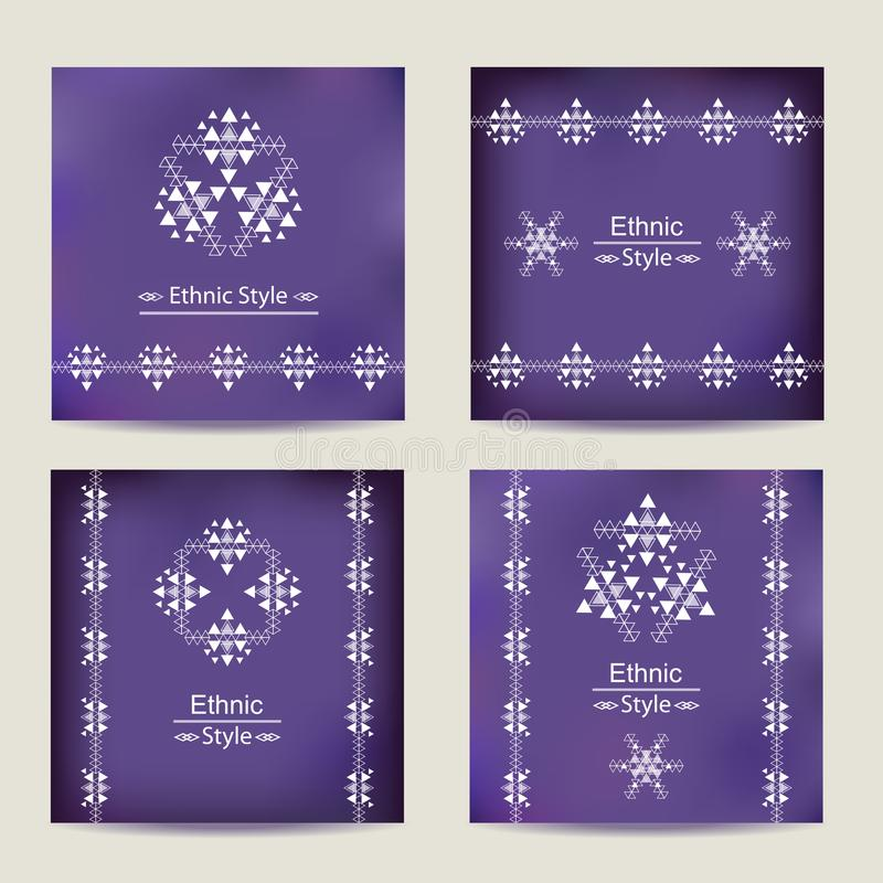Set of four ultra violet cards with ethnic design royalty free illustration