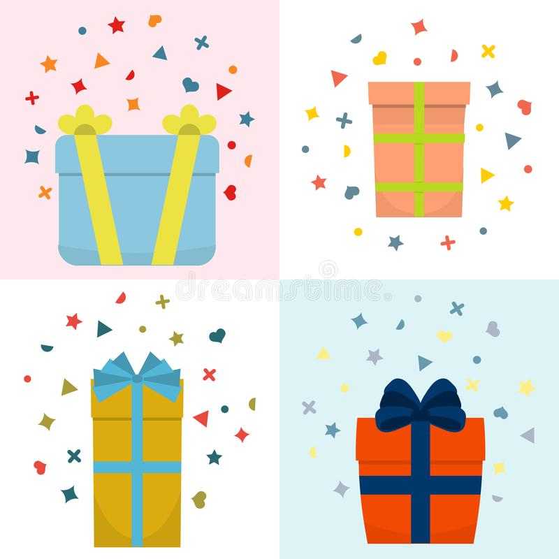 Set of four vector illustration with beautiful cardboards stock illustration