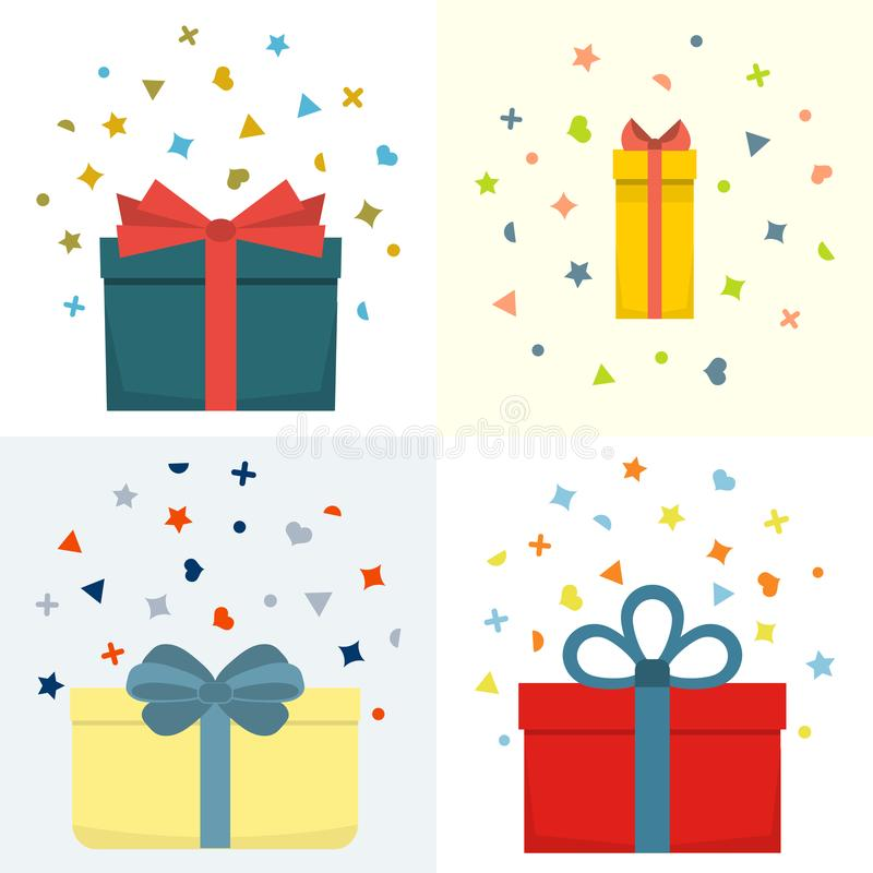 Set of four vector illustration with beautiful cardboards and paper gift boxes vector illustration