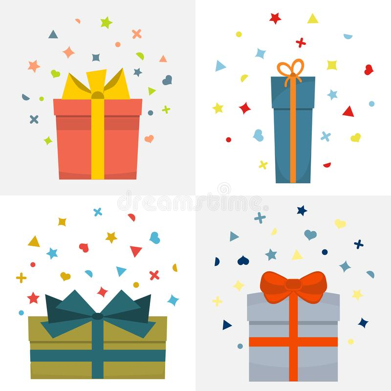 Set of four vector illustration with beautiful cardboards royalty free illustration
