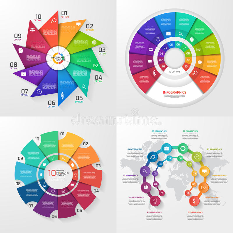 Set of four vector infographic templates. 10 options vector illustration