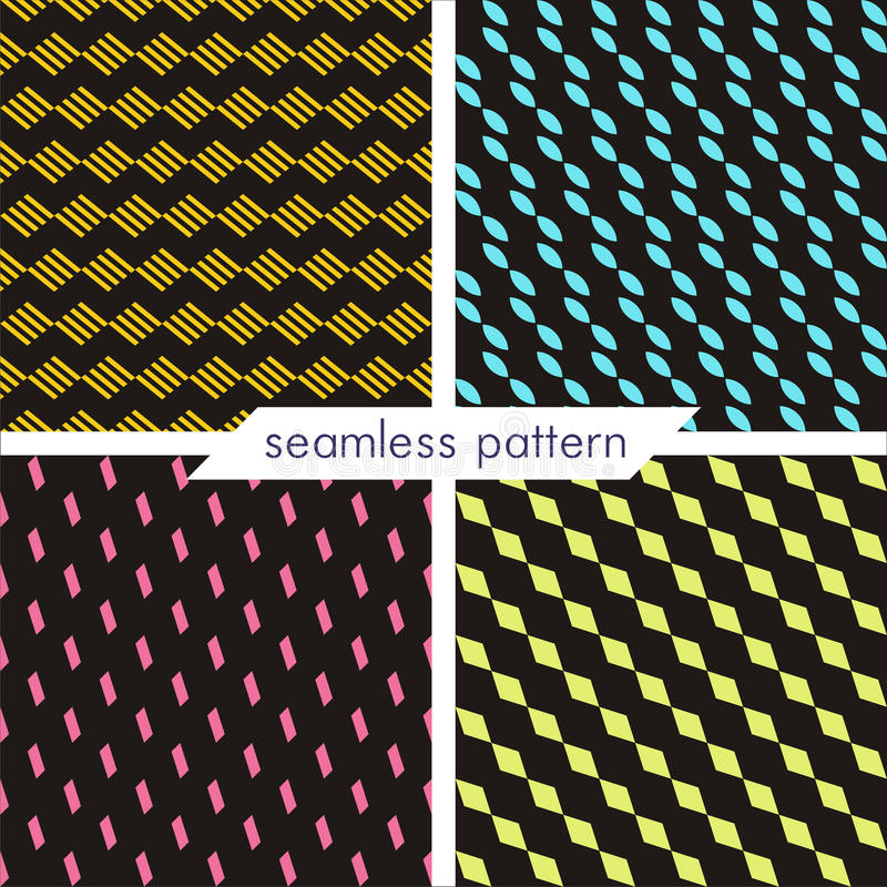 Set of four vector seamless geometrical patterns. Vintage textures_5 royalty free stock image