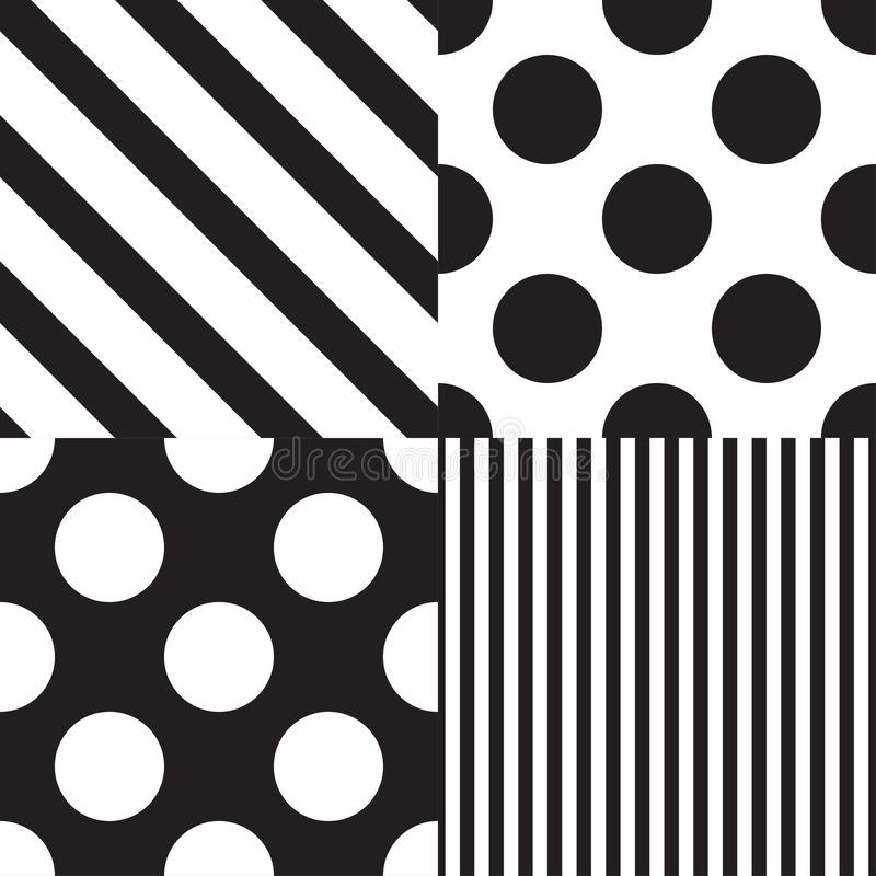 Set of four vector seamless patterns. Black and white colors vector illustration