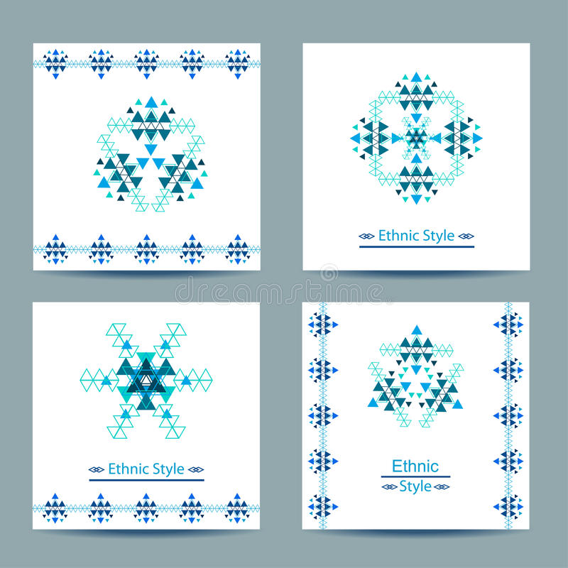 Set of four vector white square cards with ethnic design vector illustration