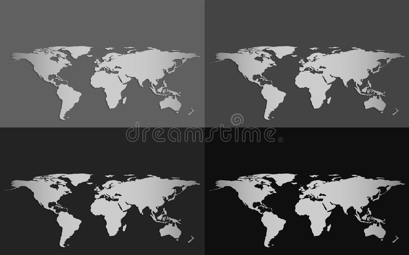 Set of four vector world maps isolated on a grayscale background download set of four vector world maps isolated on a grayscale background stock vector illustration gumiabroncs Images