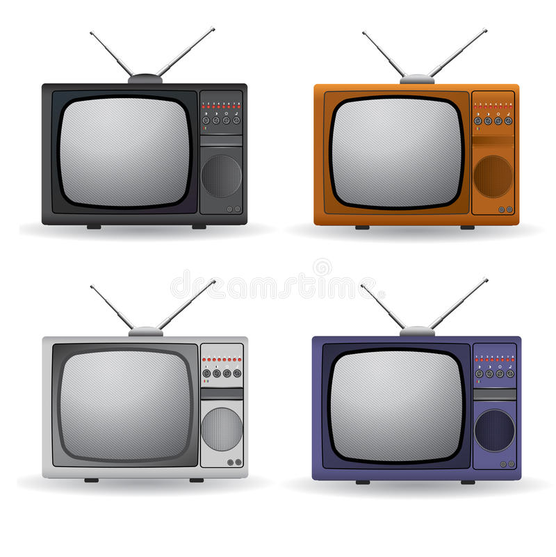 Download Set of four vintage TV stock vector. Image of icons, technology - 32273495