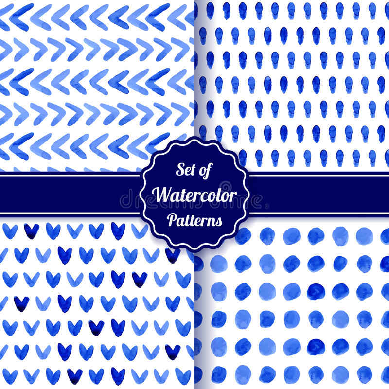 Set of four watercolor simple patterns. vector illustration