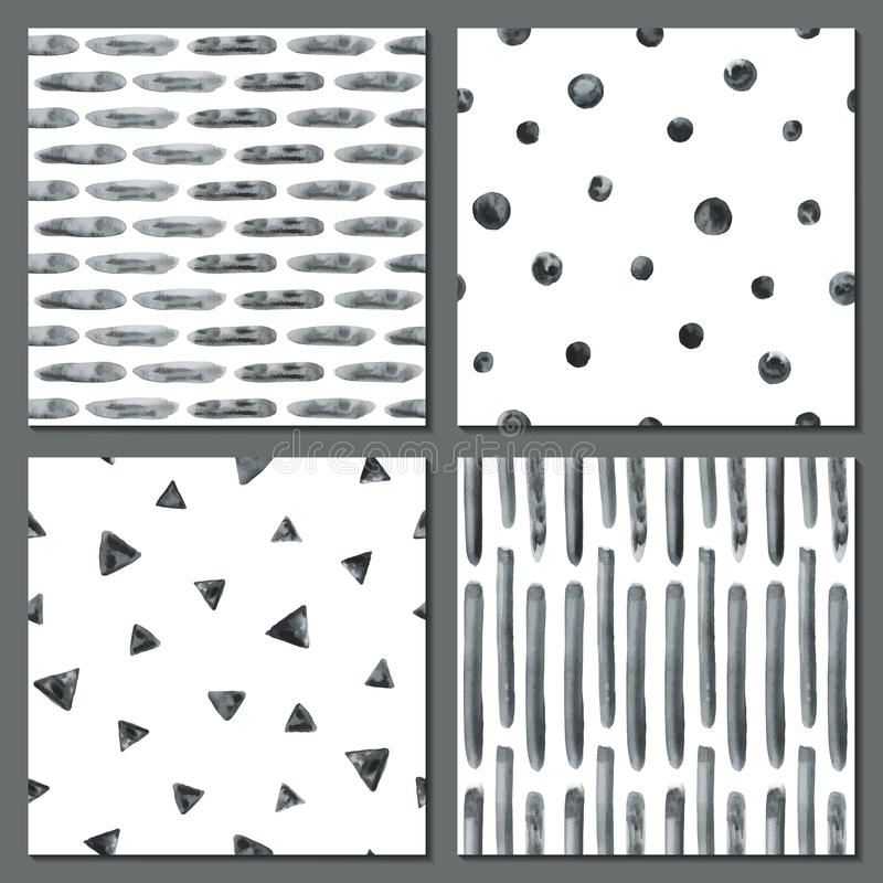Set of four watercolor simple patterns. royalty free illustration