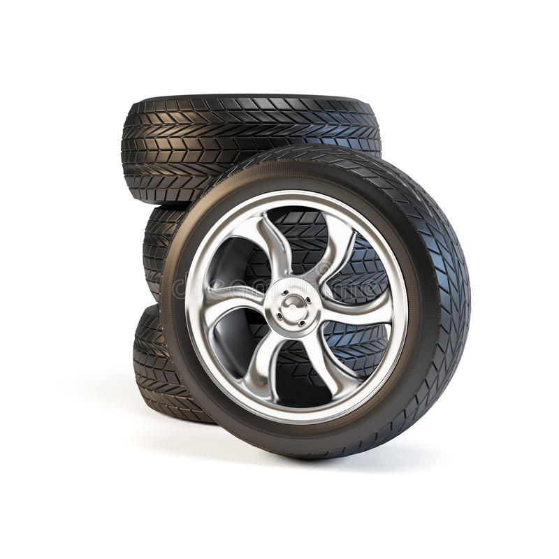 Set of four wheels. Automobile tires and rims. Isolated on white background stock illustration