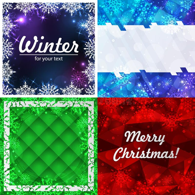Set of four winter backgrounds. Winter frame with snowflakes. Christmas Greeting Card. New Year background with space for your. Set of four winter backgrounds royalty free illustration