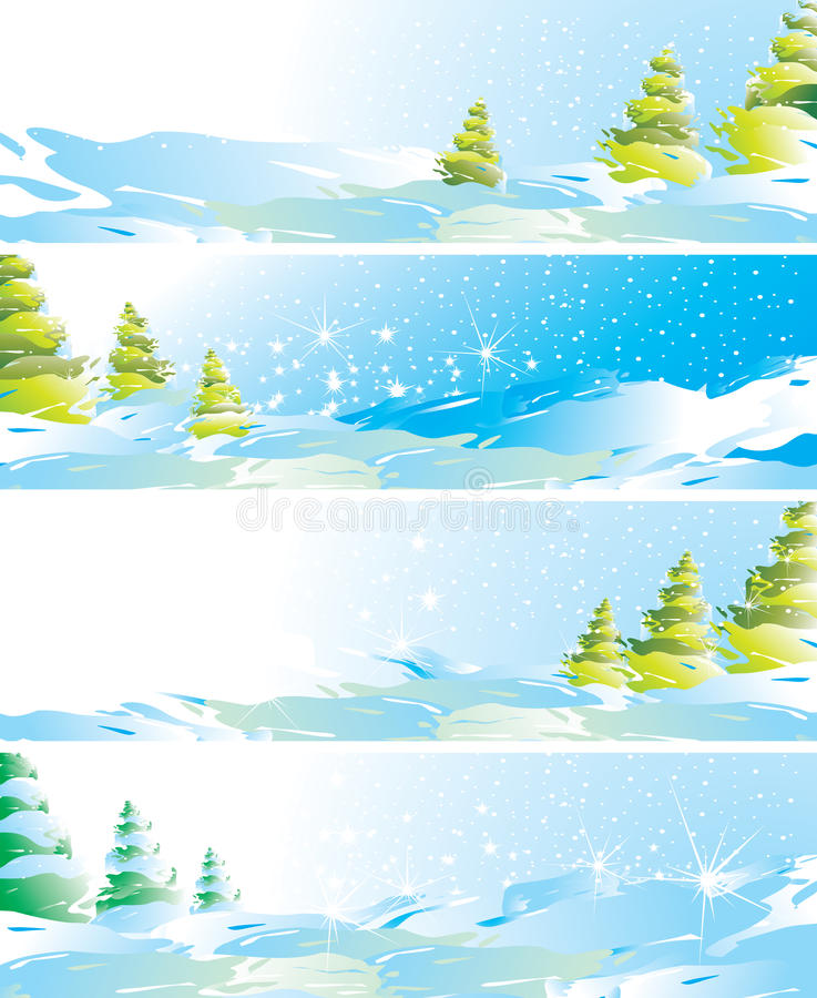 Download Set Of Four Winter Landscape Banners Stock Vector - Illustration: 11900718