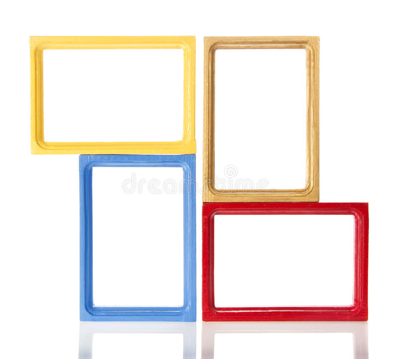 Set of four wooden framework for photo royalty free stock photography