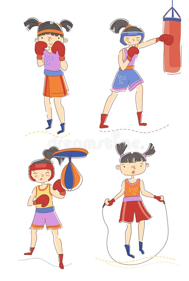 Set of four young woman or girls boxing and skipping over a rope with one in the defensive pose, one punching a bag and stock illustration