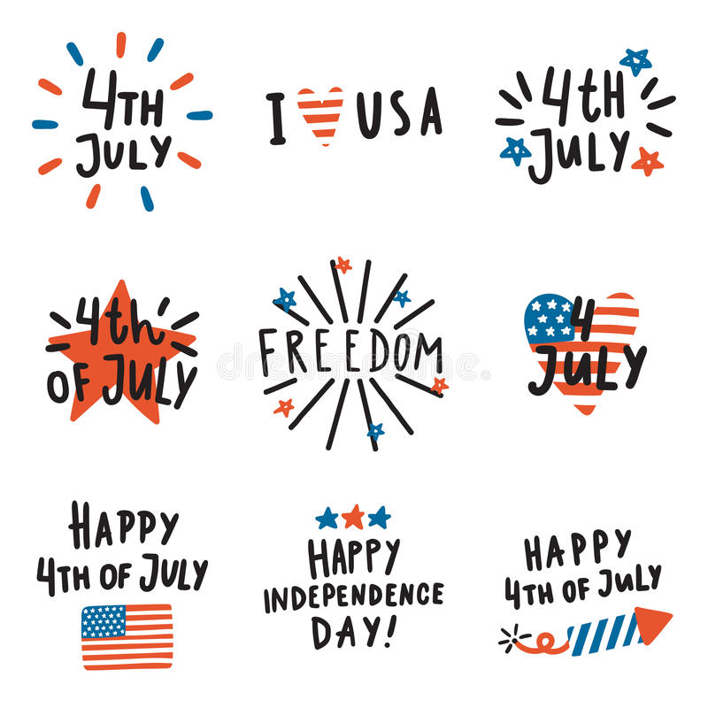 Set Of Fourth July Badges Stock Vector Illustration Of Graphic