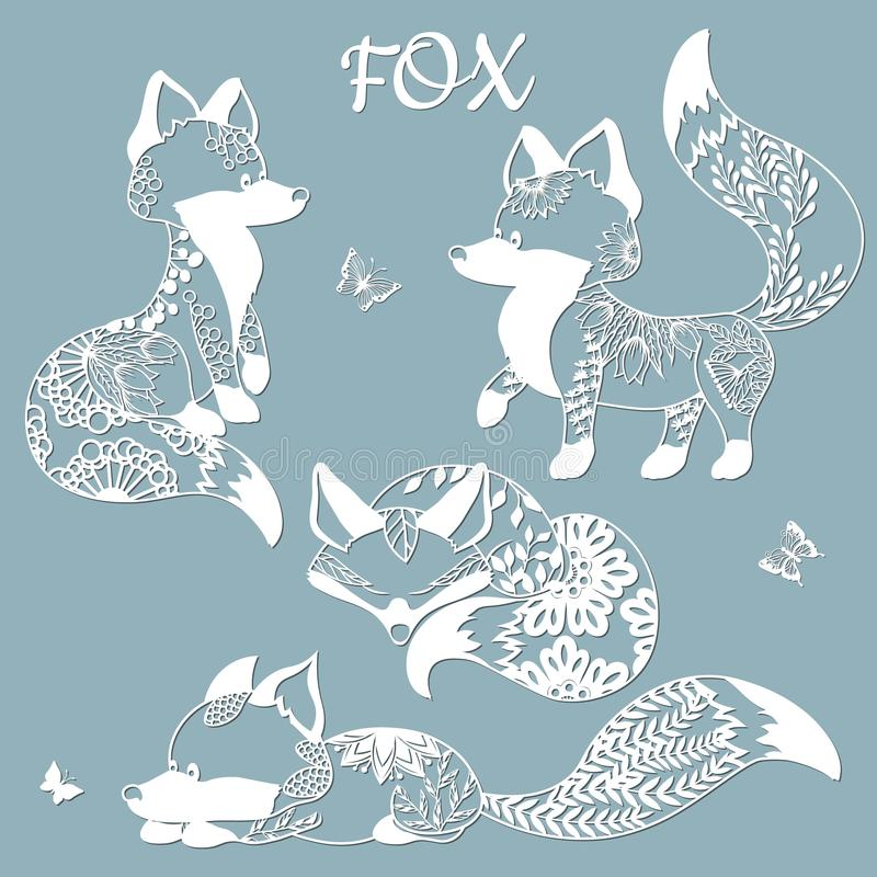 Set of foxes and butterflies. Templates for laser cutting. With patterns of flowers and leaves. Plotter and screen printing.  stock illustration