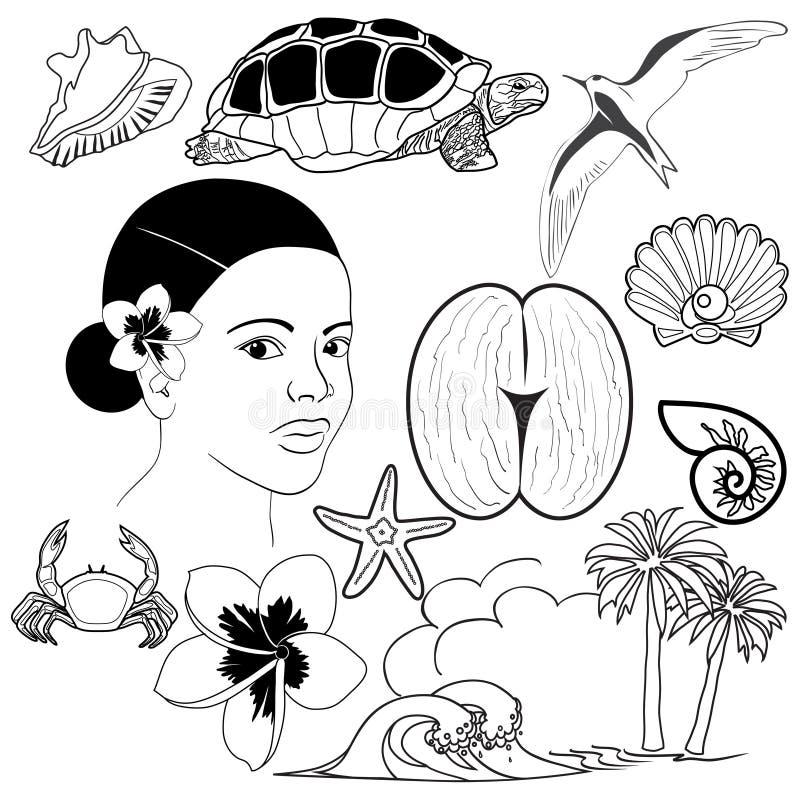 Set fråna Seychellerna symboler vektor illustrationer