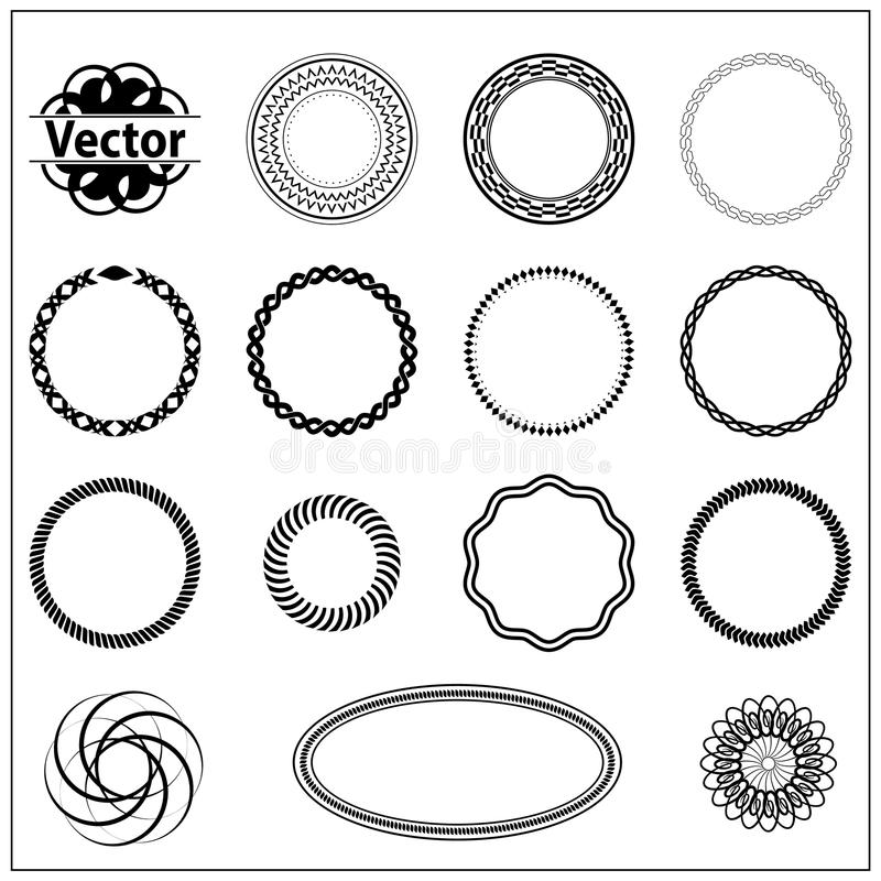 Download Set Fractal And Swirl Shape Element Stock Vector