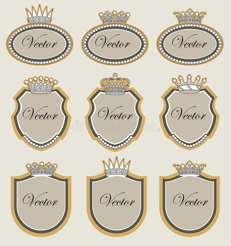 Download Set  frame with crowns stock vector. Illustration of regal - 19171250