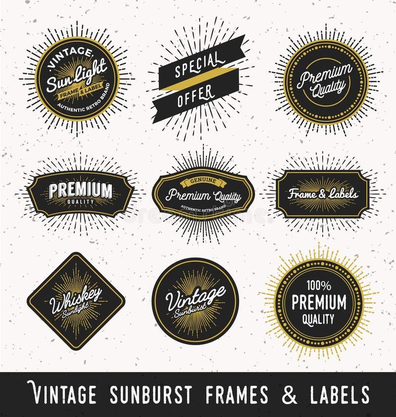 Set of frame and label with vintage sunburst design. stock illustration