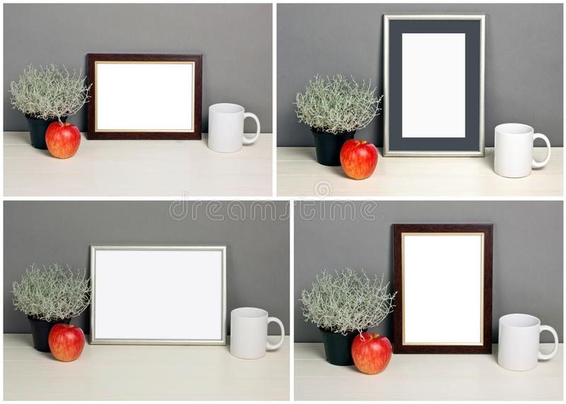 Set of frame mockup with plant pot, apple, mug. Empty frame mock up for presentation design. Template framing for modern art stock images