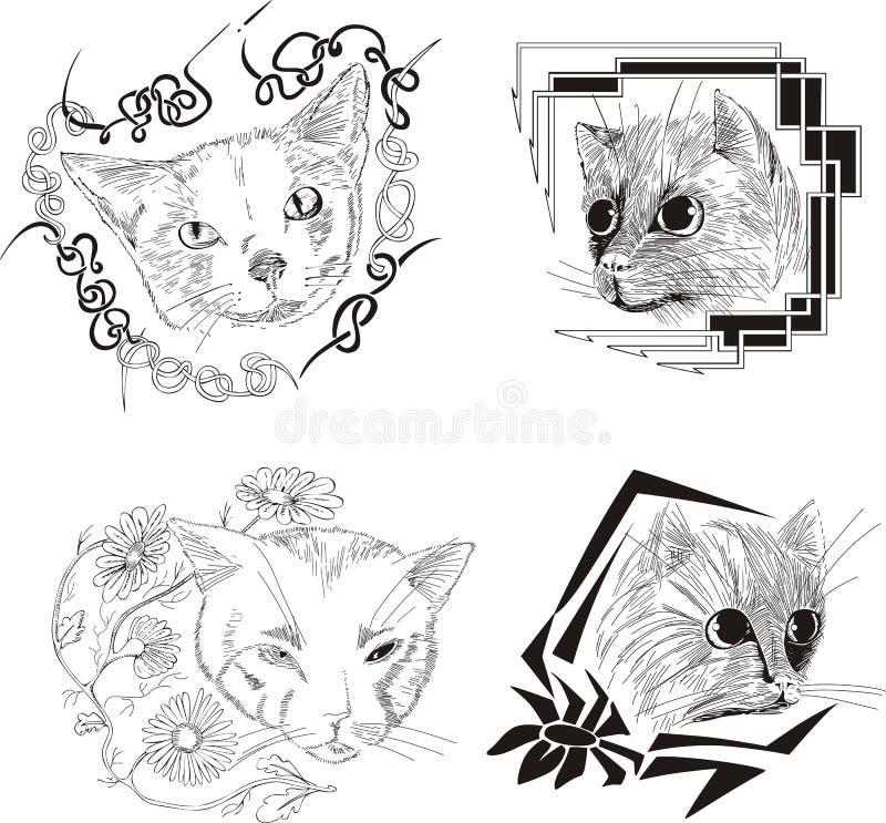 Download Set of framed cat sketches stock vector. Image of border - 25393212