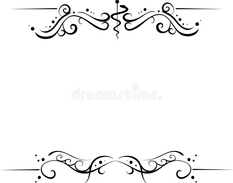 Set of frames. Medical floral and curly frame for top and bottom of document isolated on white background with place for your text (AI8 with gradient royalty free illustration