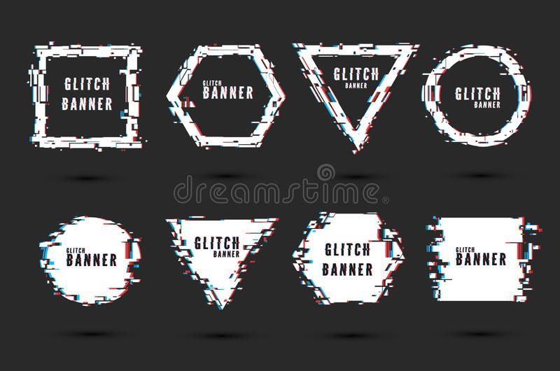 Set of frames and banners with glitch effect. Digital broken signal. Hipster design elements in a modern style. Vector. Illustration vector illustration