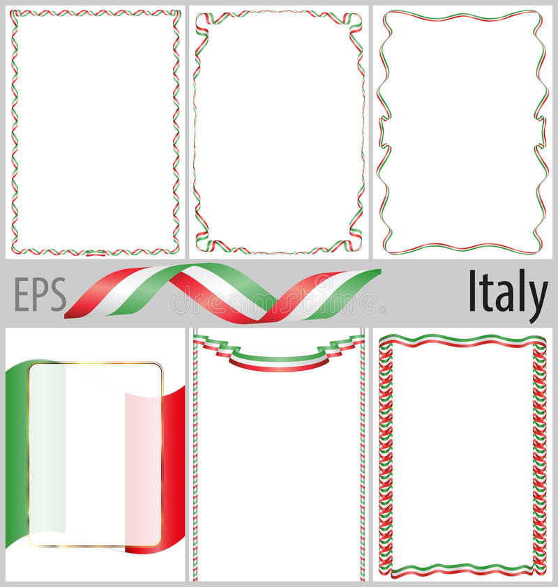 Set Of 6 Frames And Borders With Coloring Italy Flag Stock Vector ...