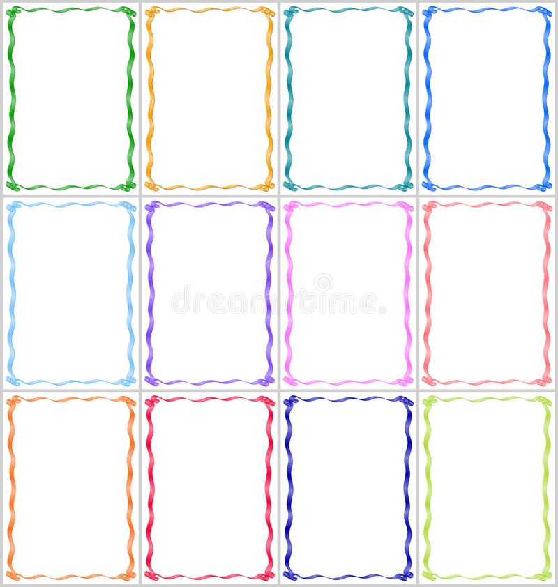 Set of frames and borders with multi-colored ribbons vector illustration