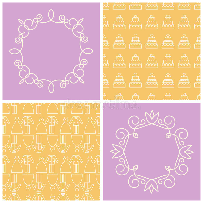 Set of frames and seamless backgrounds. vector illustration
