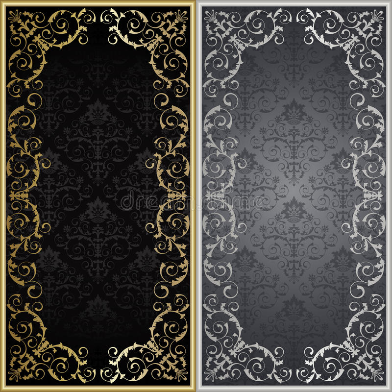 Set from framework. Set from silver and gold framework on the black and gray background royalty free illustration