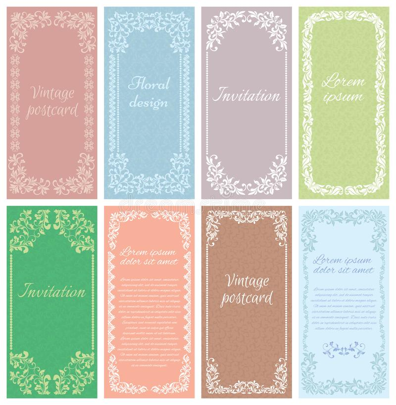 Set the framework of the patterns in vintage style. Element for design. It can be used for decorating of invitations, cards, template royalty free illustration