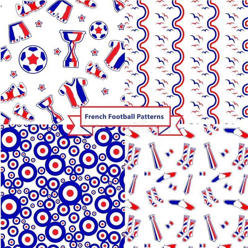 Set francuscy futbolowi wzory obraz stock