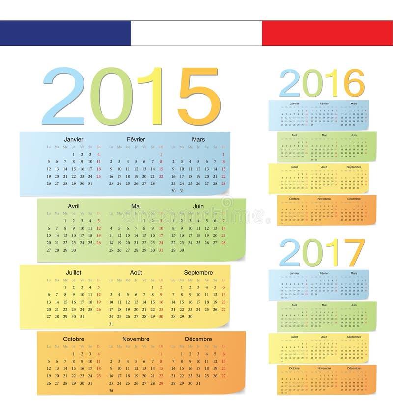Set francuz 2015, 2016, 2017 koloru wektoru kalendarzy ilustracja wektor