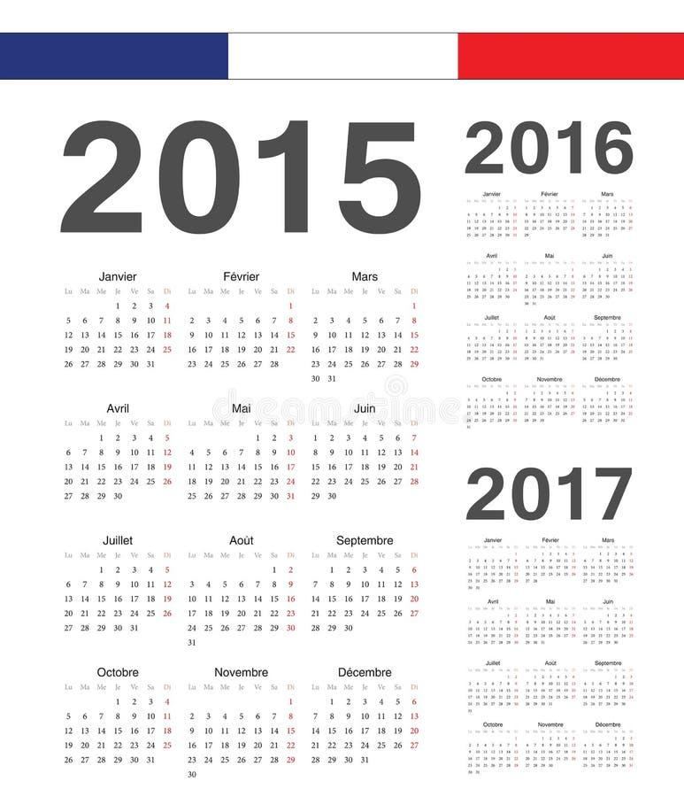 Set francuz 2015, 2016, 2017 rok wektoru kalendarze royalty ilustracja