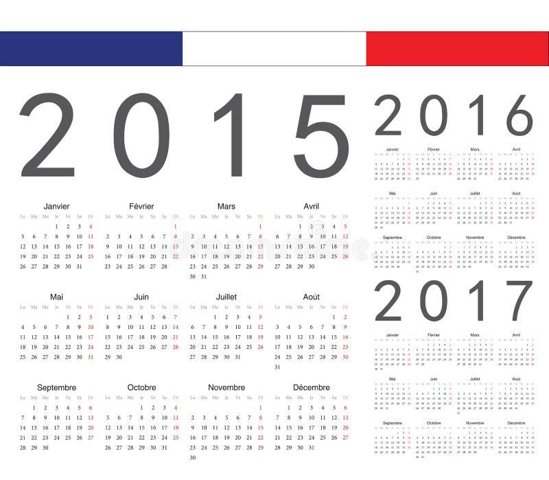 Set francuz 2015, 2016, 2017 rok wektoru kalendarze ilustracja wektor