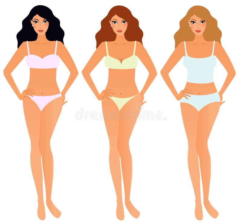 Set Frauen in der Unterwäsche stock abbildung