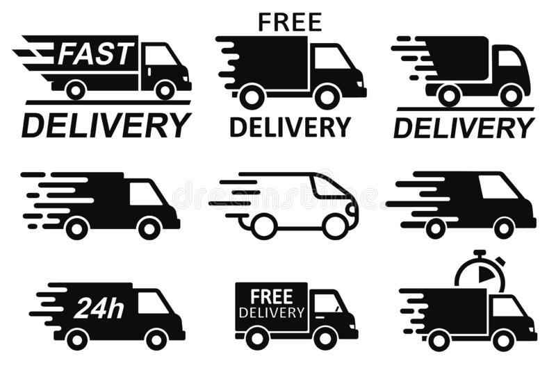 Set free delivery signs, free and fast shipping service icons. Express delivery trucks icons set, shipment vans pack, courier. Transport, distribution and stock illustration