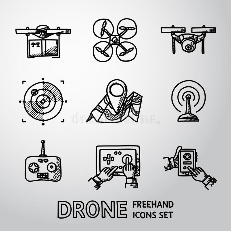 Set of freehand drone icons. Vector stock illustration
