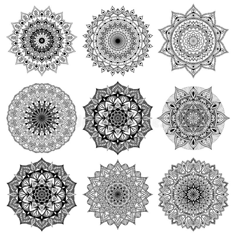 Set freehand ethnic Oriental patterns. Collection of vector mandalas for coloring stock illustration