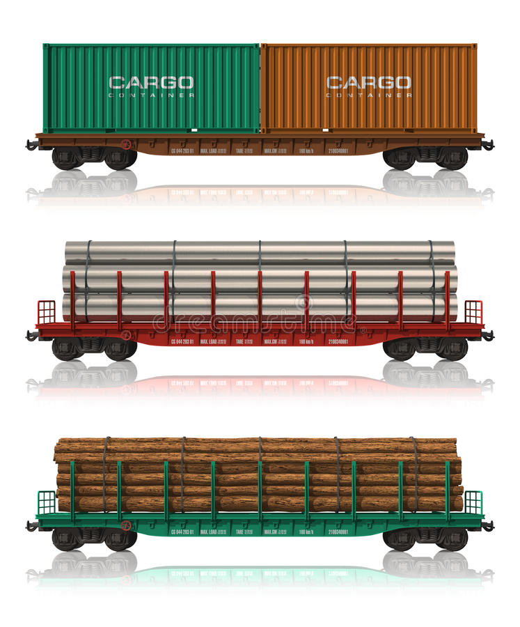 Set of freight railroad cars royalty free illustration
