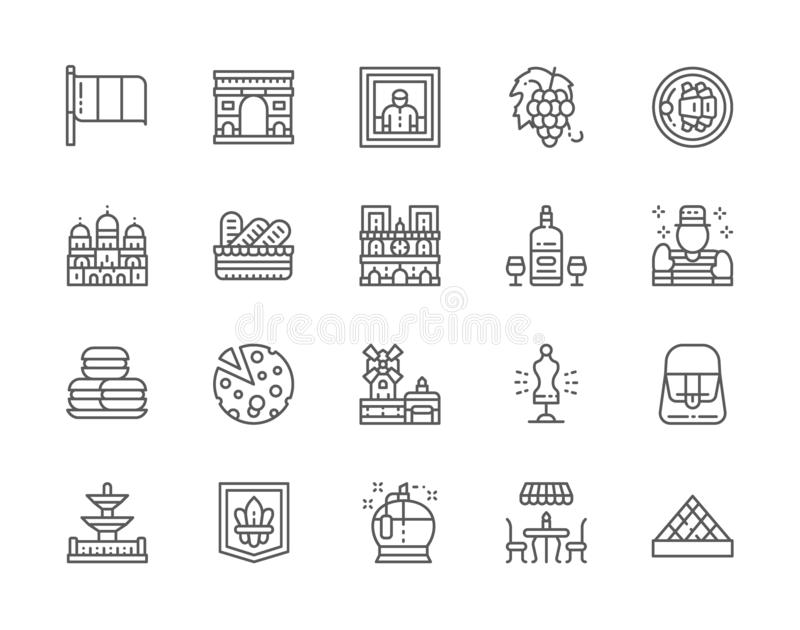 Set of French Culture Line Icons. Perfumery, Street Cafe, Alcohol, Mime and more. Set of French Culture Line Icons. Perfumery, Street Cafe, Alcohol, Mime stock illustration