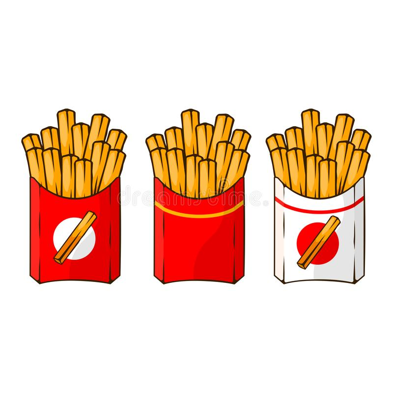 Set of french fries, fried potatoes in paper box isolated on background. Fast food. Chip cafe menu. Vector cartoon design vector illustration