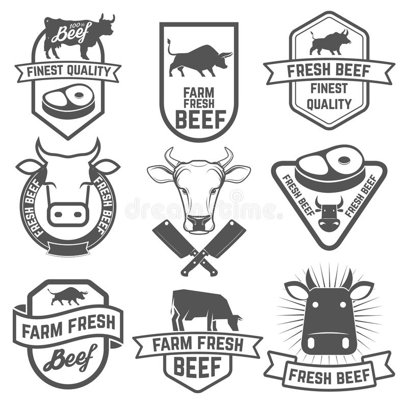 Set of fresh beef labels. Butchery shop emblems. Design element. S for labels, badges, emblems, signs. Vector illustration royalty free illustration